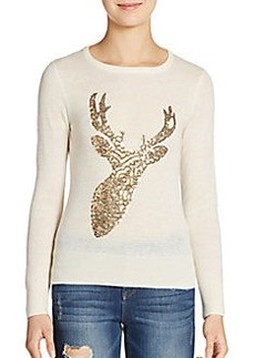 French Connection Reindeer Sequined Wool Sweater