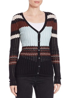 FRENCH CONNECTION Ribbed Chevron-Striped Cardigan