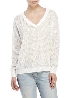 french connection Roman Stripe Pointelle Sweater