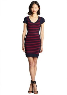 French Connection ruby and midnight striped scoop neck stretch knit 'Dani' dress