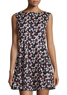 French Connection Sahara Rose Floral-Print Dress, Utility Blue/Multi