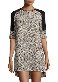 French Connection Sahara Wave Textured Shift Dress, Melon Multi