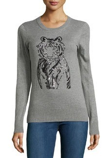 French Connection Sequin Tiger Knit Pullover, Charcoal/Mel Black