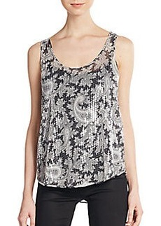 French Connection Sequined Paisley-Print Tank