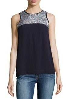 French Connection Sequined Sleeveless Top, Navy/Silver