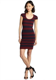 French Connection shiraz and navy striped cotton blended stretch knit dress