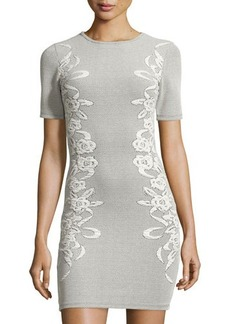 French Connection Short-Sleeve Floral-Print Jacquard Dress