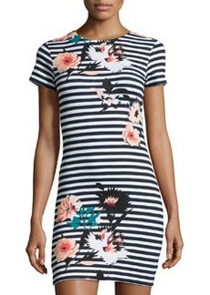 French Connection Short-Sleeve Floral-Print Stripe Dress, Multi Colors
