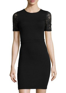 French Connection Short-Sleeve Jersey Dress w/Lace Sleeves