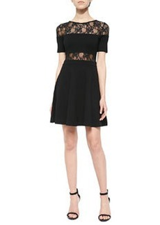 French Connection Short-Sleeve Knit & Lace Dress