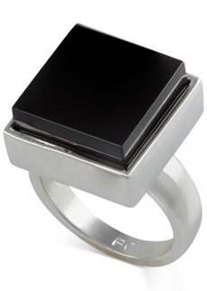 French Connection Silver-Tone Large Square Stone Ring
