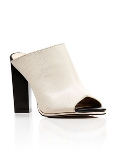 FRENCH CONNECTION Slashed Leather Mule Sandals - Abs High Heel