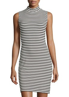 French Connection Sleeveless Mock-Neck Striped Sheath Dress