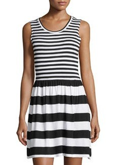 French Connection Sleeveless Multi-Stripe Dress, Black/White
