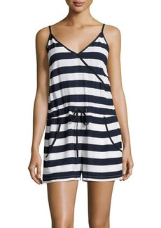 French Connection Sleeveless Striped Surplice Romper