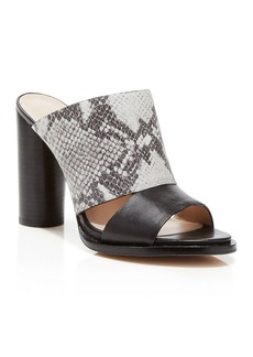 FRENCH CONNECTION Slide Sandals - Ursie Snake-Embossed High Heel