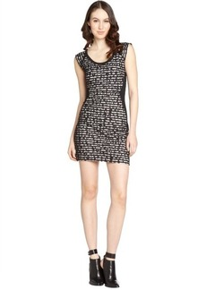 French Connection snowballl black and white lace 'City' cap sleeve dress