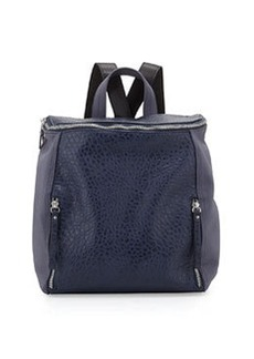 French Connection So Fresh Double-Zip Faux-Leather Backpack, Prussian Blue