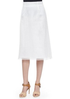French Connection Space Lace Raw-Edge Midi Skirt