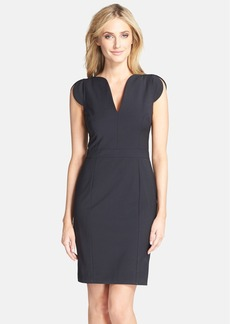 French Connection Split Neck Pinstripe Sheath Dress