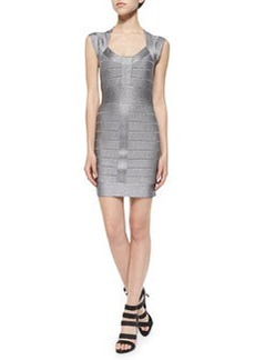 French Connection Spotlight Cap-Sleeve Metallic Bandage Dress