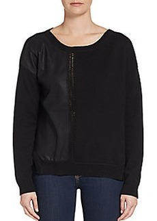 French Connection Stevie Faux Leather Paneled Knit Sweater