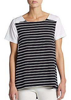 French Connection Striped Hi-Lo Top