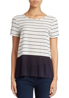 FRENCH CONNECTION Striped Mixed-Media Top