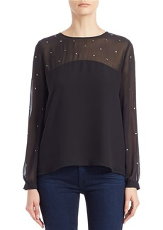 FRENCH CONNECTION Studded Chiffon Blouse
