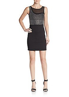 French Connection Studded Illusion-Yoke Sheath Dress