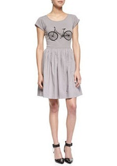 French Connection Summer Steel Bicycle Jersey Fit-And-Flare Dress, Light Gray