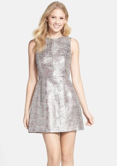 French Connection 'Sunlight Summer' Metallic Tweed Fit & Flare Dress