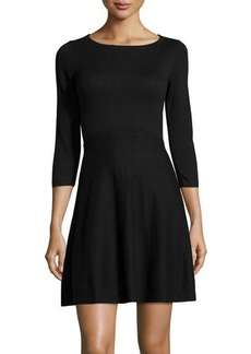 French Connection Sydney 3/4-Sleeve Fit-and-Flare Dress