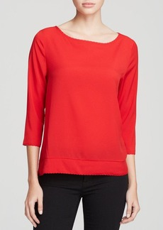 FRENCH CONNECTION Top - Polly Plains Scallop Edge