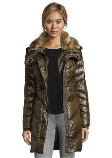 French Connection turtle chevron quilted faux fur trimmed hood down jacket
