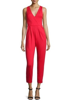 French Connection V-Neck Sleeveless Straight-Leg Jumpsuit