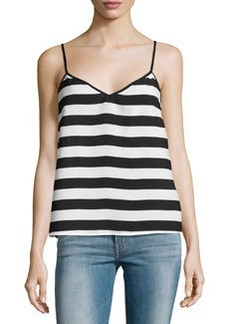 French Connection V-Neck Stripe Tank Top, Black/White