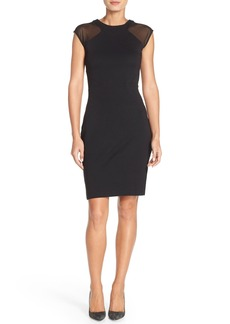 French Connection 'Viven' Mesh Paneled Sheath Dress