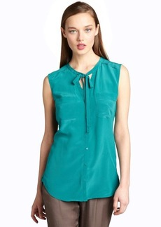 French Connection wallflower green silk sleeveless tie neck blouse