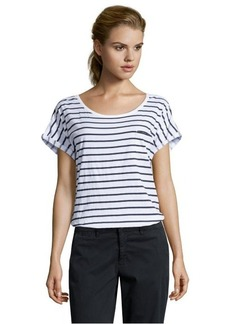 French Connection white and black cotton striped pattern short sleeve tee