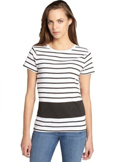 French Connection white and black striped cotton 'Sonny Section' t-shirt