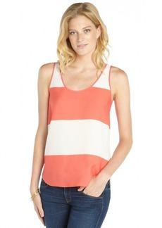 French Connection white and coral stretch stripe pattern printed sleeveless tank