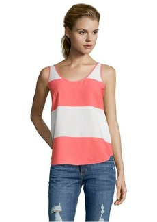 French Connection white and coral woven striped sleeveless tank
