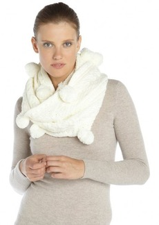 French Connection white cable knit pom pom trim 'Flecky' infinity scarf