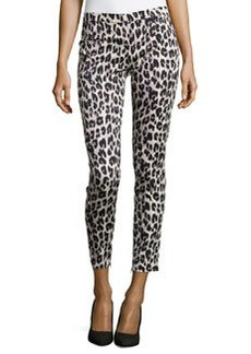 French Connection Winter Simba Leopard-Print Sateen Pants, Silver Combo