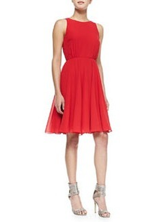 French Connection Winter Spells Chiffon Fit-And-Flare Dress, Royal Scarlet
