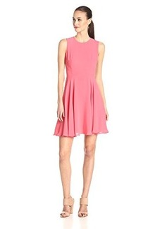 French Connection Women's Ana Crepe Sleeveless Fit and Flare Dress, Coral Beach, 12