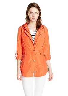 French Connection Women's Anorak with Hood, Sunset Orange, X-Large