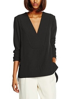 French Connection Women's Arrow Crepe Long Sleeve V Neck Top, Black, 4