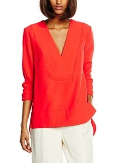French Connection Women's Arrow Crepe Long Sleeve V Neck Top, Riot Red, 2